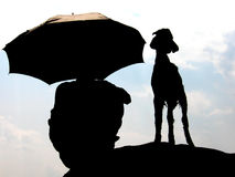 The Shepherd. A little goat and the shepherd sit on a rock on a sunny afternoon in India Royalty Free Stock Photography