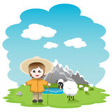 Shepherd. Illustration, shepherd with sheep in field on background of the mountains Stock Photo