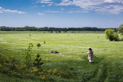 Free Shepherd And Flock Of Sheep On A Pasture Royalty Free Stock Photography - 71927667