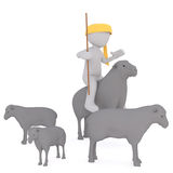 Shepherd astride a sheep. Faceless 3D man in yellow headband with cane in hand sitting astride on sheep, between herd isolated on white background Royalty Free Stock Image