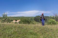 Shepherd con el pasto de las ovejas que se inclinan en su palillo Imagen de archivo libre de regalías