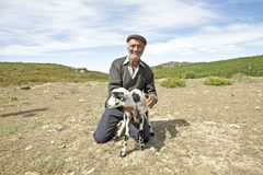 Shepherd in the countryside from Portugal. Shepherd with one of his goats in the countryside from Portugal Royalty Free Stock Photo