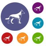 Shepherd dog icons set Royalty Free Stock Image