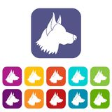 Shepherd dog icons set Stock Image