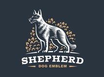 Shepherd dog logo - vector illustration. Emblem design on dark background Stock Photography
