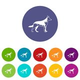 Shepherd dog set icons Stock Photo