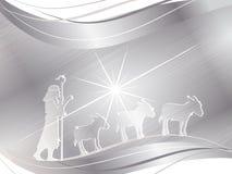 Shepherd and donkeys Stock Images