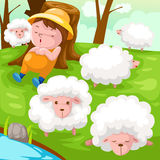 Shepherd with flock of sheep Royalty Free Stock Images