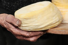Shepherd hand and cheese Royalty Free Stock Photography