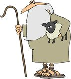 Shepherd Holding A Lamb. This illustration depicts a shepherd with a beard and staff holding a lamb vector illustration
