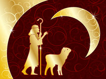 Shepherd and lamb. Religion theme christmas background for your message Stock Image