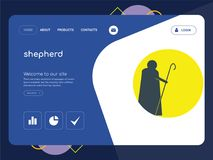 Shepherd Landing page website template design. Quality One Page shepherd Website Template Vector Eps, Modern Web Design with flat UI elements and landscape Royalty Free Stock Image