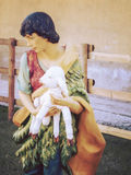 Shepherd in nativity Christmas scenes. Royalty Free Stock Images