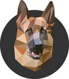Shepherd in a polygon style. Fashion illustration of the trend i. N style on gray background. Farm animals. portrait of a dog Royalty Free Stock Photos