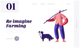 Shepherd, Rancher, Villager Male Character Walking with Dog Outdoors. Relaxed Barefoot Farmer with Long Stick on Shoulder. Website Landing Page, Web Page stock illustration