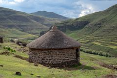 Free Shepherd`s Mud Hut In The Hills Near The Town Of Mokhotlong In North Eastern Lesotho, Africa. Stock Photos - 147144683