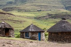 Free Shepherd`s Mud Huts In The Hills Near The Town Of Mokhotlong In North Eastern Lesotho, Africa. Royalty Free Stock Photo - 147144755