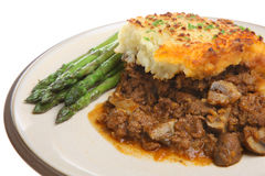 Shepherd's Pie & Asparagus Royalty Free Stock Images