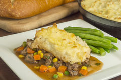 Shepherd's pie. Freshly baked homemade shepherd's pie with beef and vegetables stock photo