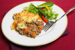 Shepherd's pie meal on cloth Royalty Free Stock Image