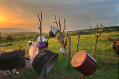 Shepherd`s Pots and Pans in the Carpathian Mountains Stock Images
