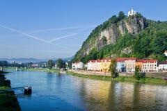 Shepherd´s rock, Town Decin, Czech republic Stock Images