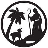 Shepherd and Sheep silhouette icon  illustration black on Stock Photography