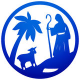 Shepherd and Sheep silhouette icon  illustration blue on w Stock Image
