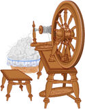 Shepherd Spinning Wheel and Chair Stock Photos