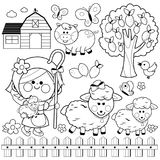 Shepherdess girl and animals at the farm. Black and white coloring book page stock illustration