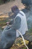 Shepherdess kitchen on fire Stock Photo