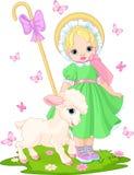 Shepherdess pequeno com cordeiro Imagens de Stock Royalty Free