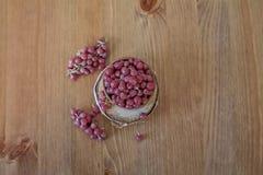 Shepherdia. Berries on wooden background stock photography