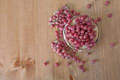 Shepherdia. Berries on wooden background stock images
