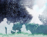 Shepherds and angel silhouette Royalty Free Stock Photo