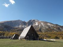 The Shepherds hut. And The Durmitor mountain at the background Royalty Free Stock Images