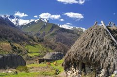 Shepherds' huts. Village in the National Park Somiedo, Asturias, Spain Stock Image