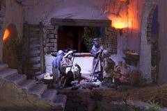 Shepherds la adoración Pesebre de la Navidad Fotos de archivo libres de regalías