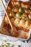 Shepherds pie in the baking dish closeup. vertical top view Royalty Free Stock Photo