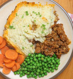 Shepherds Pie Dinner from Above Royalty Free Stock Image