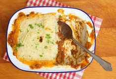 Shepherds Pie in Dish From Above Stock Image