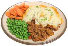 Shepherds Pie Meal Isolated on White Royalty Free Stock Images