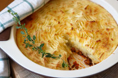 Shepherds pie with missing piece Royalty Free Stock Photography
