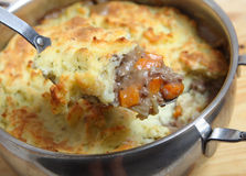 Shepherds pie on serving spoon Stock Photos