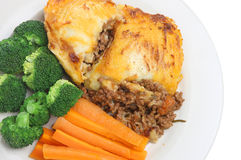 Shepherds Pie & Vegetables Stock Images