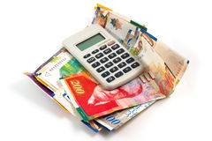 Sheqel with calculator stock images