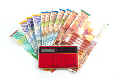 Sheqel with calculator Royalty Free Stock Images