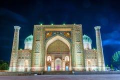 Sher-Dor Madrasah at night, Samarkand, Uzbekistan Royalty Free Stock Photography