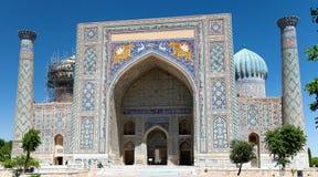 Sher Dor Medressa - Registan -撒马而罕-乌兹别克斯坦 免版税库存照片