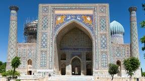 Sher Dor Medressa - Registan -撒马而罕-乌兹别克斯坦 免版税库存图片
